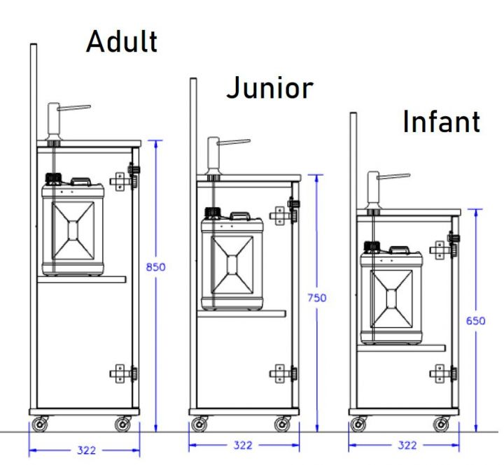 Infant size - Manual Sanitiser Unit